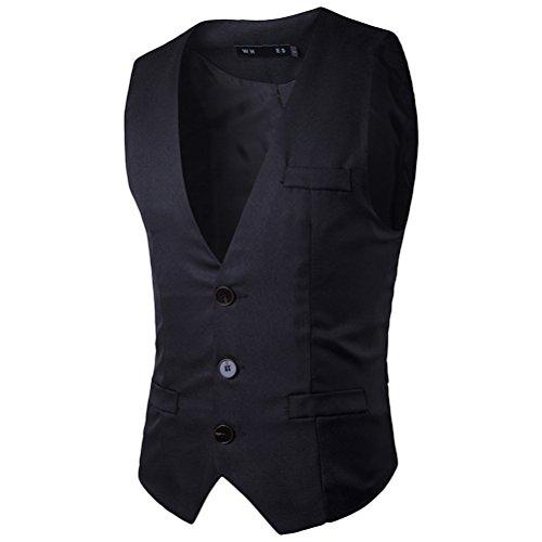 Zhuhaitf doux Men's 3 Buttons Single-Breasted Button Down Dress Suit Vest Waistcoat Black