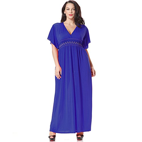 JOTHIN Damen Boho Bedruckte Strandkleid Einfarbige Maxikleid V-ausschnitt Plus Size Mit Elastischer Taille Dunkelblau