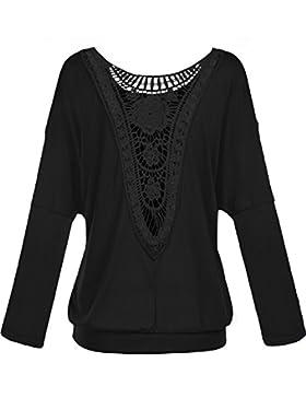 Damen Rundkragen Langarm Bluse Rueckenfrei Falten T-Shirt Tops Elegante Spitzen Langarmshirts