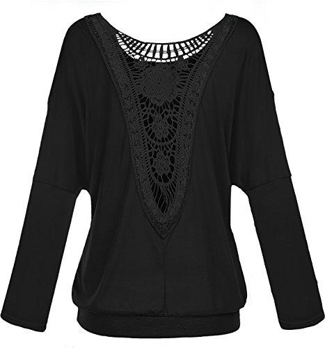 Damen Rundkragen Langarm Bluse Rueckenfrei Falten T-Shirt Tops Elegante Spitzen Langarmshirts Schwarz XXL (52)