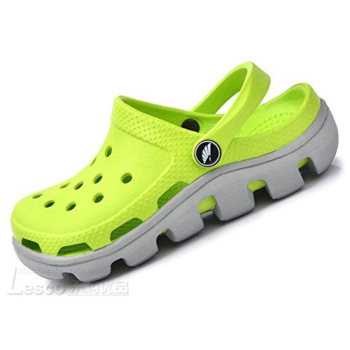 Xing Lin Sandales En Cuir Le Nouveau Trou Trou Chaussures De Plage Chaussures Chaussures Hommes Couple D'Étudiant De L'Été Code Grand Baotou Sandales Chaussons Épais Et 38 = La Longueur 240 Mm, Vert Moutarde