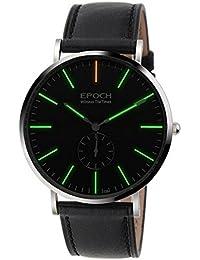 Epoch 6025G 50m Wasserdicht tritiumgreen Luminous Ultrathin Case Schutzhülle Lederband Business Herren Quarzuhr Armbanduhr