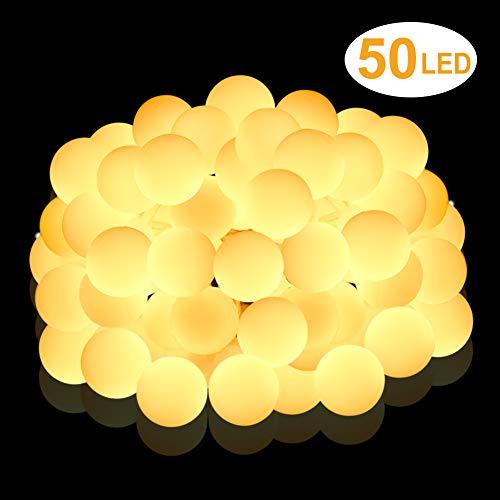 Nasharia 50 LED-Lichterkette, 5 m, Warmweiß, romantische Dekoration für Haus, Garten, Festival, Hochzeit, Geburtstag, Abendveranstaltungen etc. (batteriebetrieben)