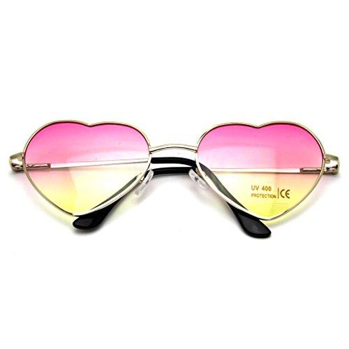 DDU(TM) 1 Stück Rosa Damen Metall Sonnenbrillen Nettes Herz-Form-Design Objektiv Outdoor Brillen