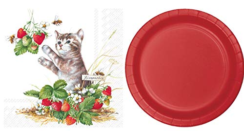 Olive Occasions Einweg-Papier, Oster-Frühling, Partyzubehör Kitty in Strawberries Plates + Napkins