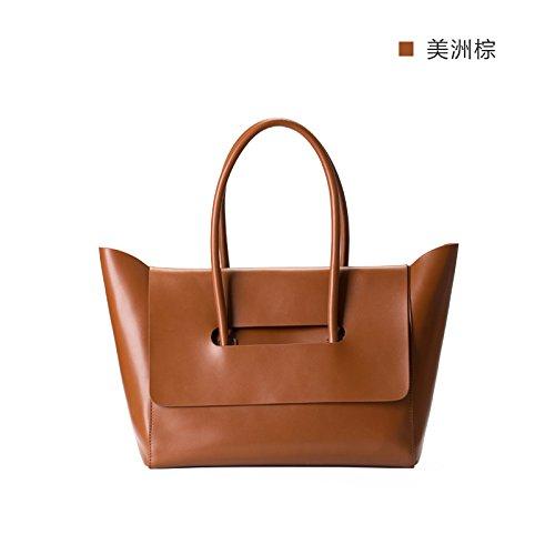 Printemps Nouveau style sac à main sac en cuir sac en cuir souple simple banlieue nord original,Brown America Brown