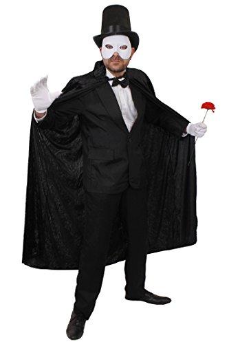 Kostüm Phantom Der Oper Dress Fancy - ILOVEFANCYDRESS Phantom DER OPER Geist Theater VERKLEIDUNG KOSTÜM BEINHALTET-Anzug+HALB Gesichtsmaske +Zylinder+Fliege+Handschuhe+UMHANG MIT Kaputze+Plastik NELKE=Maske/Weiss-Anzug-XLarge