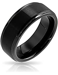Bling Jewelry Unisex negro mate de tungsteno de 8mm de banda de boda