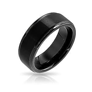 Unisex Matte Black Tungsten Wedding Band 8mm