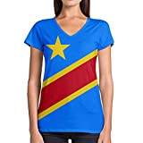 Photo de Idakoos Congo Kinshasa 3D - T-Shirt Col V Femme Polyester Nouveauté M par Idakoos