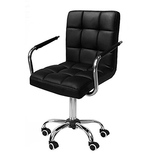 tinkertonk Black Faux Leather Home Office Computer Desk Chairs Swivel Stool Chair on Wheels