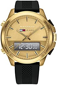Tommy Hilfiger men's Gold Dial Black Silicone Watch - 179