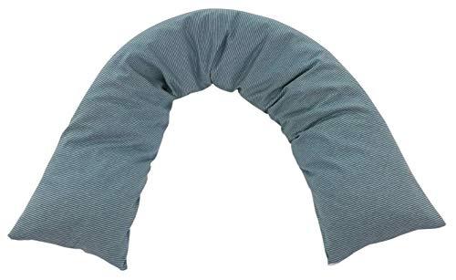 Seitenschläferkissen / Stillkissen 200 x 35 cm (Öko kbA Baumwolle, IVN Best & GOTS zertifiziert, Ringe graublau)