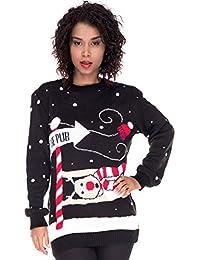 Loomiloo Weihnachten Christmas Sweater Pullover Pulli Damen Weihnachtspullover Xmas Einhorn REH Bambi Rudolph Rentier rote Puschelnase