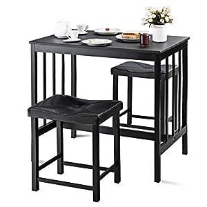 COSTWAY 3tlg. Küchenbar, Sitzgruppe Küche, Esstisch mit 2 Stühlen, Balkonset für 2 Personen, Essgruppe schwarz