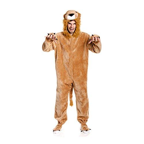 Kostümplanet® Löwen-Kostüm Deluxe Herren Kostüm mit Tatzen Overall Löwe Größe 60/62 (Einfach Lion Kostüm Frauen)