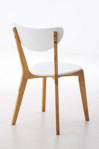 SIKALO Küchenstuhl Aus Holz Natura Weiß Lackiert Im Skandinavischen Design,  Esszimmer Stuhl Modern Mit Lehne   Besucherstuhl Wartezimmer Sitzmöbel ...