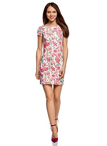 oodji Ultra Damen Kleid aus Strukturiertem Stoff mit U-Boot-Ausschnitt, Elfenbein, DE 38 / EU 40 / M (Kleid Pink Frau)