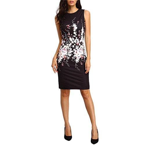 en kleider ärmellose Bodycon Ladies Evening Party Dress ärmelloses Kleid Rundhalsausschnitt elegante Abendmode Mini-Kleid für Damen (L, Schwarz) (Cocktail Womens Kostüme)