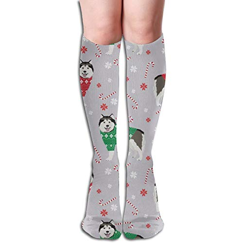 Alaskan Malamute Sweatshirt (Women's Fancy Design Stocking Alaskan Malamute Xmas Sweater Dog - Cute Dog, Holiday, Xmas, Red And Green - Grey Multi Colorful Patterned 50CM(19.6Inchs) Knee High Socks)