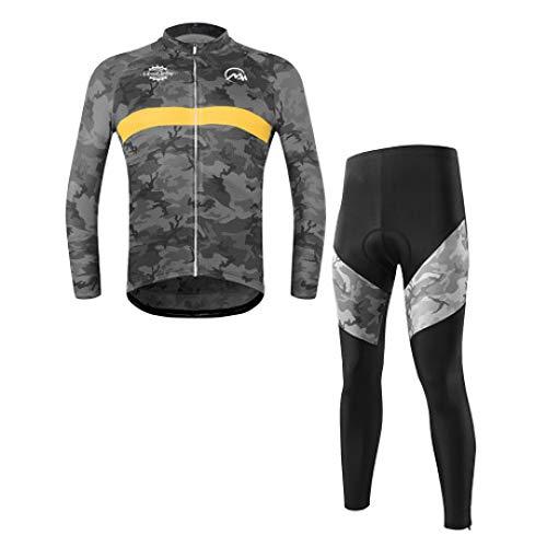 QJKai Herbst- und Wintertarnung Trikot langärmelige Herren-Mountainbike-Fahrradausrüstung schnell trocknend - Langärmelige Trikot