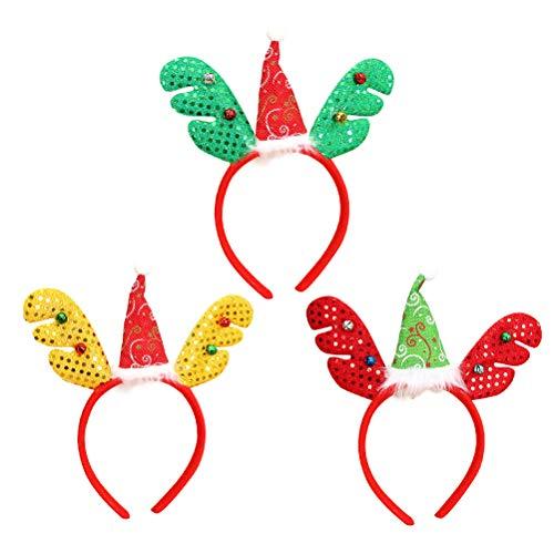 Amosfun 3 Stück Rentier Geweih Stirnband Weihnachten dekorative Kopfschmuck Haarband Kostüm Haarschmuck Freunde