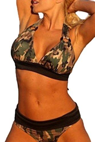 Fanvans Frauen Plus Size Split Camouflage - Bikini Camouflage L
