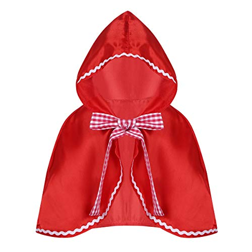 Freebily Kinder Mädchen Rotkäppchen Umhang Kapuzenumhang Märchen Kostüm Halloween Karnevalskostüm Faschingskostüme Party Verkleidung Dress up Rot S-M