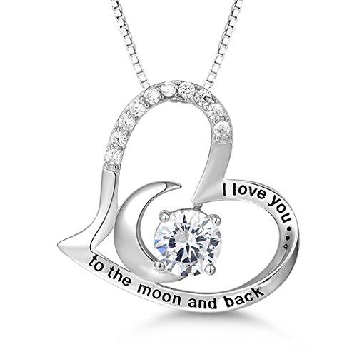 MASOP Halskette für Damen Liebe Herz Moon Anhänger I Love You To The Moon And Back 925 Sterling Silber mit Weiß Rund Zirkonia Swarovski Elements 45+5CM Kette