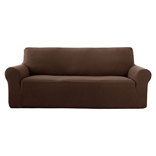 Deconovo Jacquard Sofahusse Sofaüberwurf Sofabezug Couch husse 180-230 cm Braun 3-Sitzer -