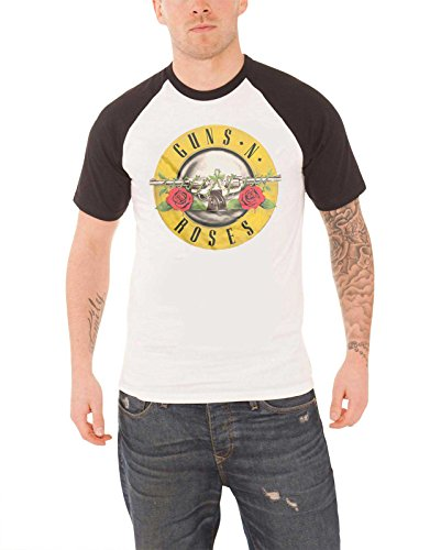 Guns N Roses T Shirt Classic Bullet Circle Logo Official Mens White Raglan