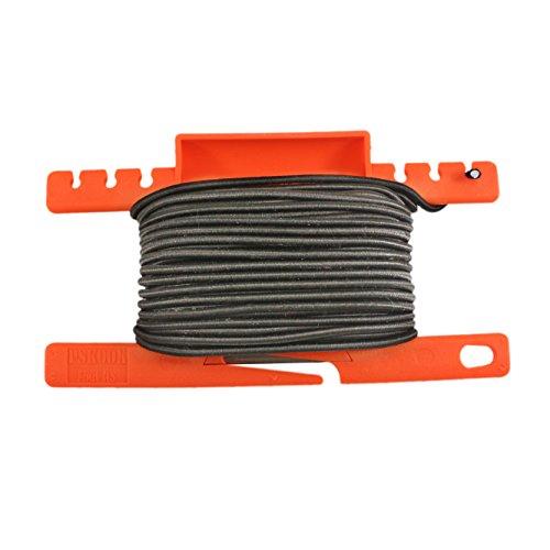 PSKOOK Schock Bungee Cord Elastisches Seil mit Einem multifunktionalen Spool Tool für Überleben im Freien 1/8 inch 3mm 50FT (schwarz) -