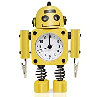 Betus [Non-ticking Robot Alarm Clock Stainless Metal - Wake-up Clock with Flashing Eye Lights and Hand Clip (Yellow)