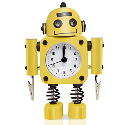 Betus Non-Ticking Robot Wecker aus rostfreiem Metall - Weckuhr mit blinkenden Augenlichtern und Handclip (gelb)