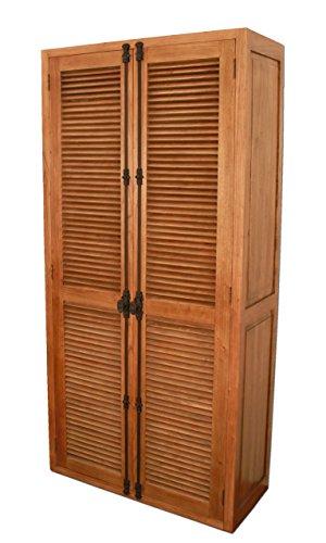 Temesso Großer Schrank mit Lamellentüren aus Eichenholz, gekalkter Eiche