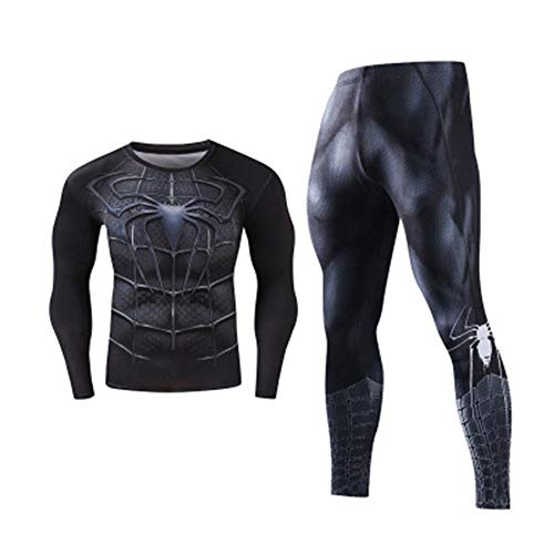 T-SHIRT BOY Men Compression Set, Spider Man 3D Drucken Enger Anzug, Lauf/Basketball/Ausbildung/Fitness Style 1-XL (Anzug Haut Superhelden)