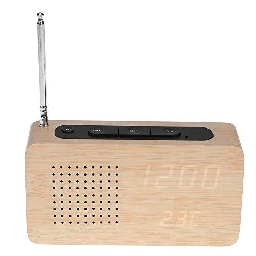 Prosperveil Reloj despertador de madera con luz LED para radio FM