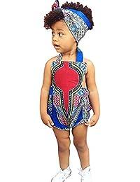 MAYOGO Ropa Infantil de niña Mameluco de Estampado Africano Bodies sin Mangas Ropa Bebe Niña Verano Monos Banda de Pelo Conjunto para Niñas Pelele Sin Respaldo Jumpsuit Halter