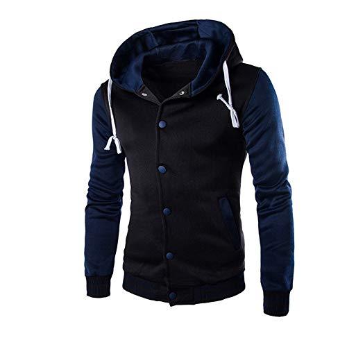 (VECDY Herren Jacken,Räumungsverkauf-Herren Männer Mantel Jacke Outwear Pullover Winter Schlank Hoodie Warm Kapuzenpulli Warme Windjacke im Herbst und Winter(Marine,56))