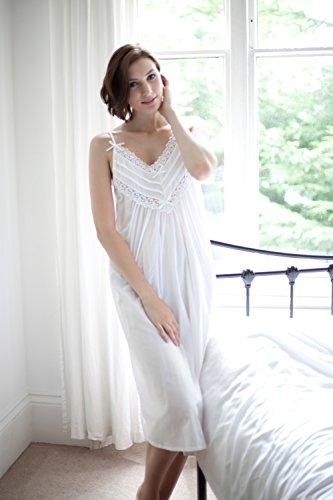 Cottonreal 'Cai' Viktorianisches 100% Baumwolle Strappy Nachthemd - XS-XXL - Weißes Nachthemd Weiß