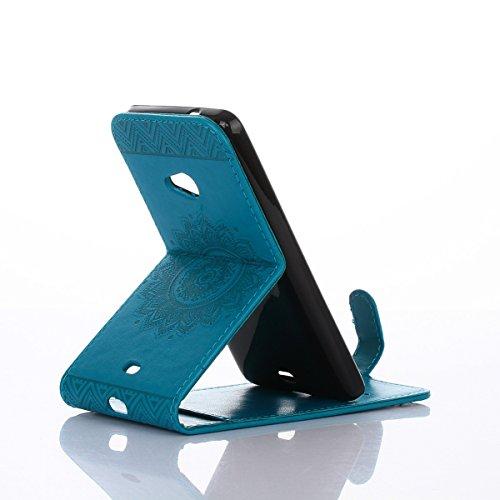 Étui en cuir PU pour Nokia Microsoft Lumia N535,Vertical Pliable Rabat Shell pour Nokia Microsoft Lumia 535,Microsoft Lumia 535 N535 Flip Cover,Ekakashop Etui avec Motif de Gris Mandala Retro Tendance Bleu