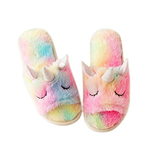 Unicorn Slippers for Girls, Non-Slip Sole Indoors Unicorn Plush Slippers for Girls& Women Soft Cute Spring Autumn Winter Shoes Christmas Halloween New Year Gifts