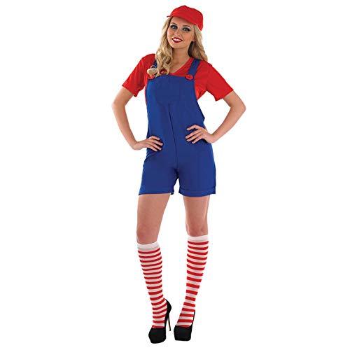 Fun Shack Damen Costume Kostüm, Womens Mario Dungarees, M (Mario Bros Kostüme Uk)