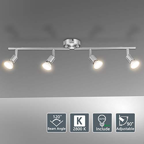 Bojim Lámpara de techo LED Plafón con Focos Giratorios 4X Bombillas GU10...