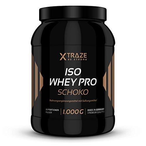 ISO Whey Protein Schoko Pulver 1kg Eiweiß-Molkenprotein-Isolat 89,6% 1000g mit BCAA Qualität aus Deutschland - ohne Zusatzstoffe wie Aspartam - für Kraftsport | Bodybuilding | Fitness | Diät