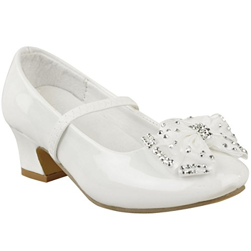 Fashion Thirsty Chaussures à Petit Talon- Strass/Noeud - pour Mariage/fête - bébé/Fille - Blanc Verni - EUR 25