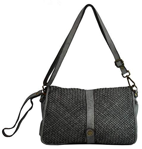 BZNA Berlin Bag Lola Grau grey Italy Designer Clutch Umhängetasche Damen Handtasche Schultertasche Tasche Leder Shopper Neu