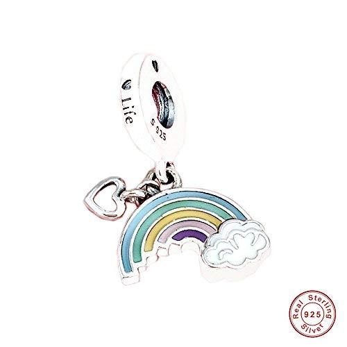 FUNSHOPP 2018 - Abalorio de primavera arcoíris de amor, esmalte mixto, para pulseras Pandora originales, joyería de moda europea
