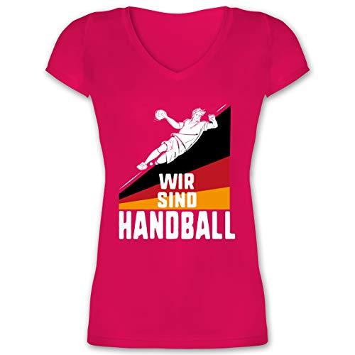 Handball WM 2019 - Wir sind Handball! Deutschland - M - Fuchsia - XO1525 - Damen T-Shirt mit V-Ausschnitt