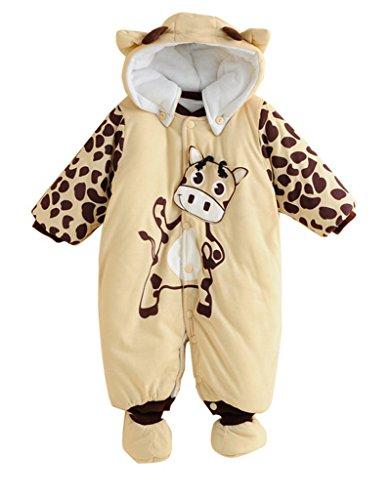 Minetom Babys Schneeanzug Overall Winterjacke Schlafstrampler mit Tiere Muster Süßigkeit Kuh (Kleinkind Kuh Muster Kostüm)